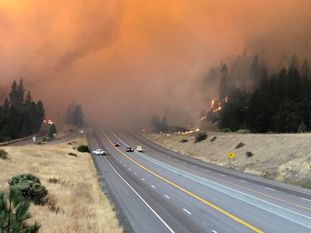 Yesterday, the rapidly growing Delta Fire closed I-5.