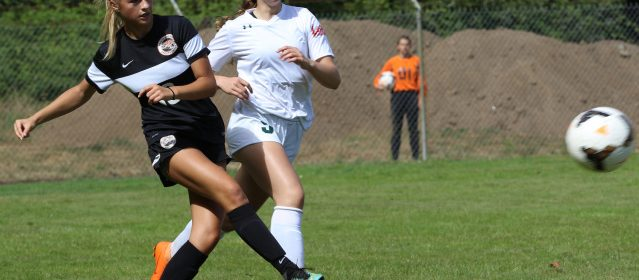 Arcata's Sarah Jensen, left, clears the ball while under pressure form Eureka's Liza Crassweller during Saturday's game.