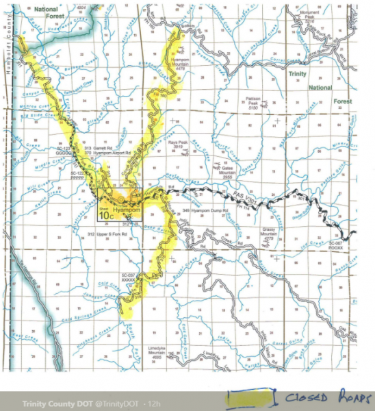Road closure map Kerlin Fire sept 6