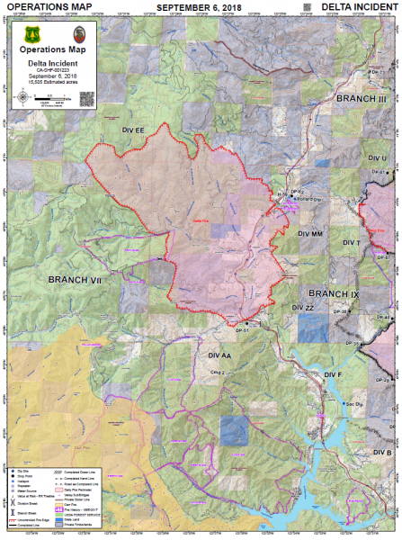Delta Fire Operations Map Sept 6