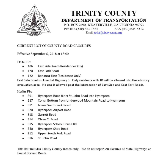Trinity County Road Closures