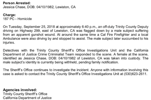 Press release from TCSO