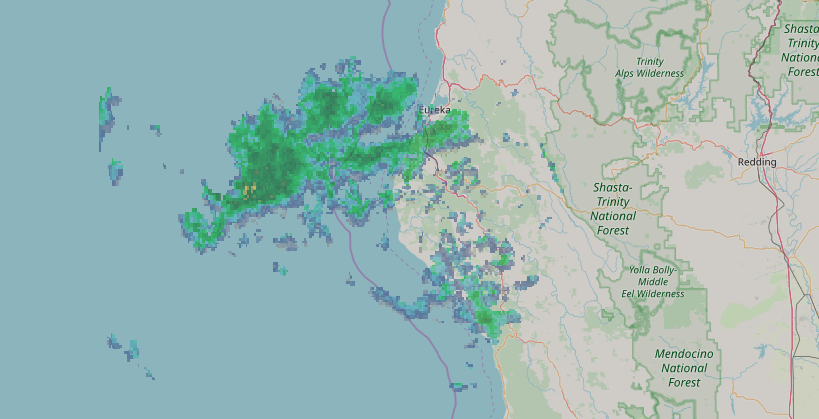 Rain moving over the North Coast.