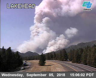 Smoke from the Delta Fire captured on the Lakehead traffic cam which is located on I-5 north of the Lakehead overcrossing.