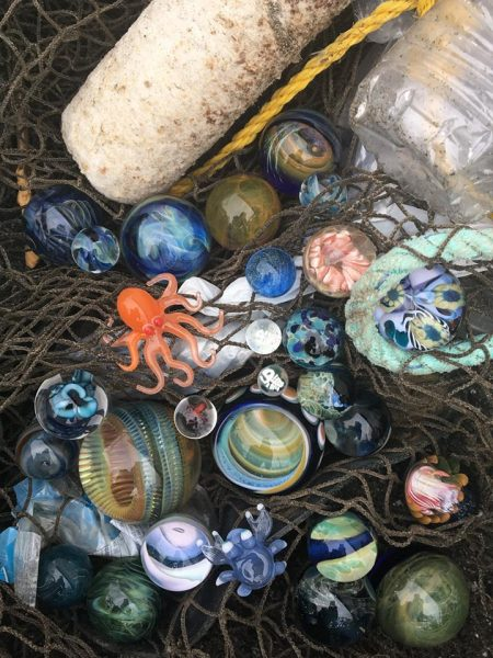 Marble Prizes donated by Local Artists and Glassblowers were awarded to participants in the Beach Cleanup