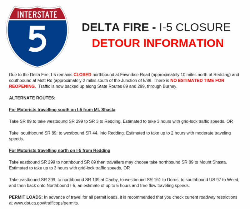 Caltrans District 2 report on I-5 conditions