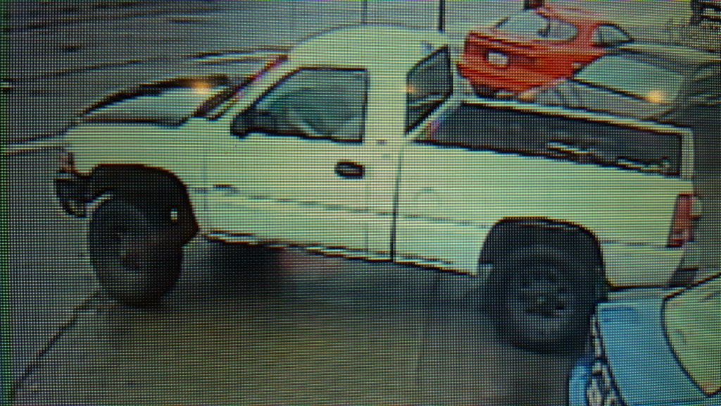 surveillance video of white truck