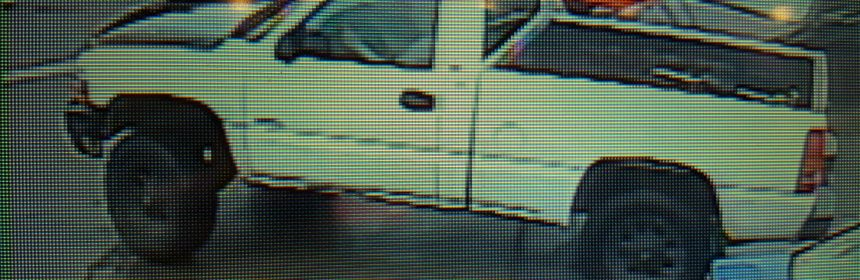 surveillance video of white truck