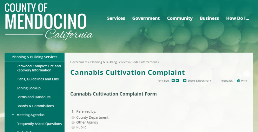 mendocino county Cannabis complaint form