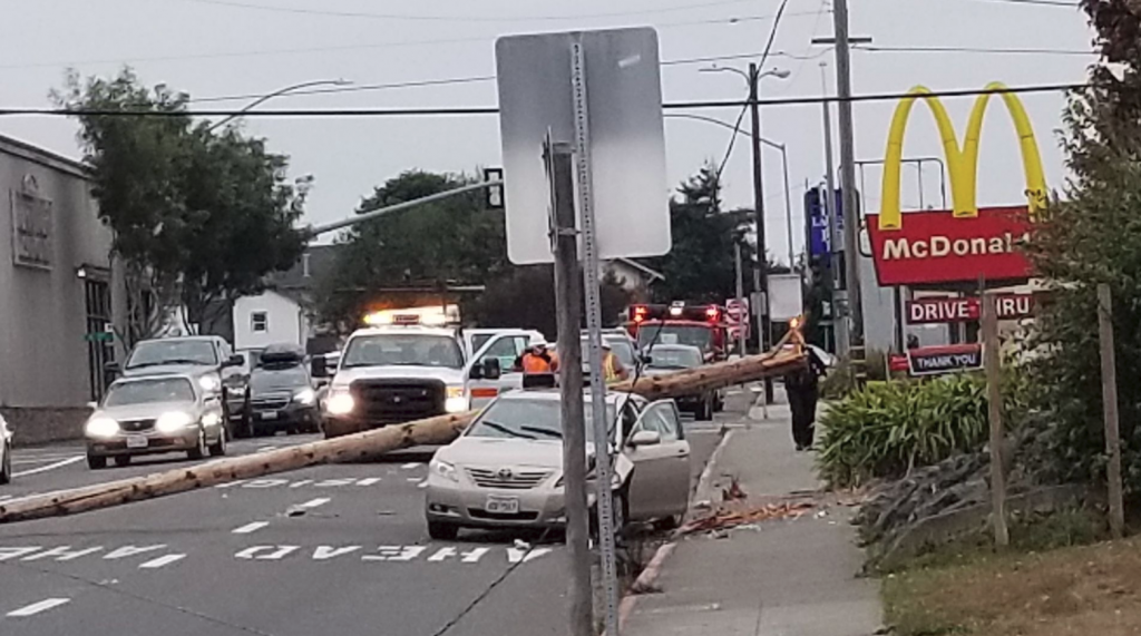 The pole is blocking S Street. [Photo provided by Chrissy Carlson]