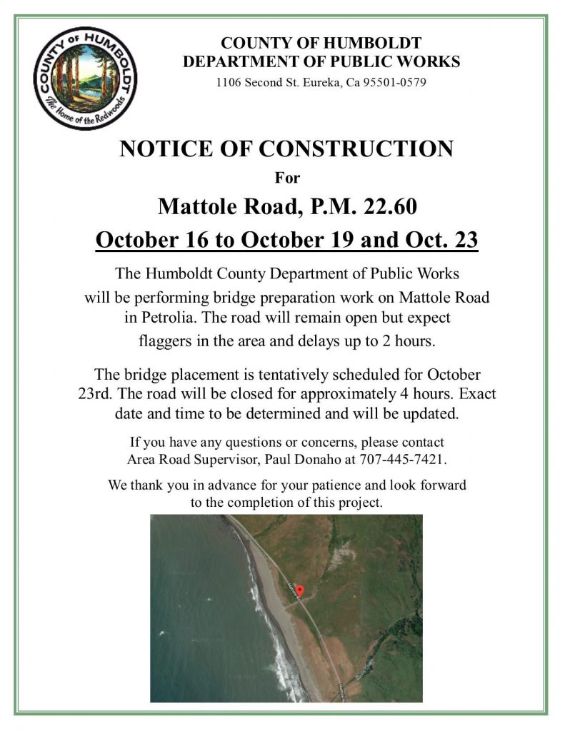 Mattole Road Construction