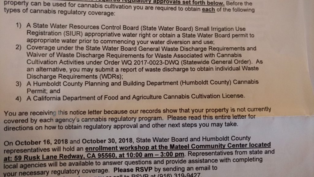 State water Board compliance letter