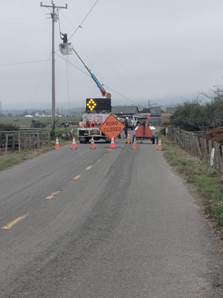 Working on a power lines after a crash.