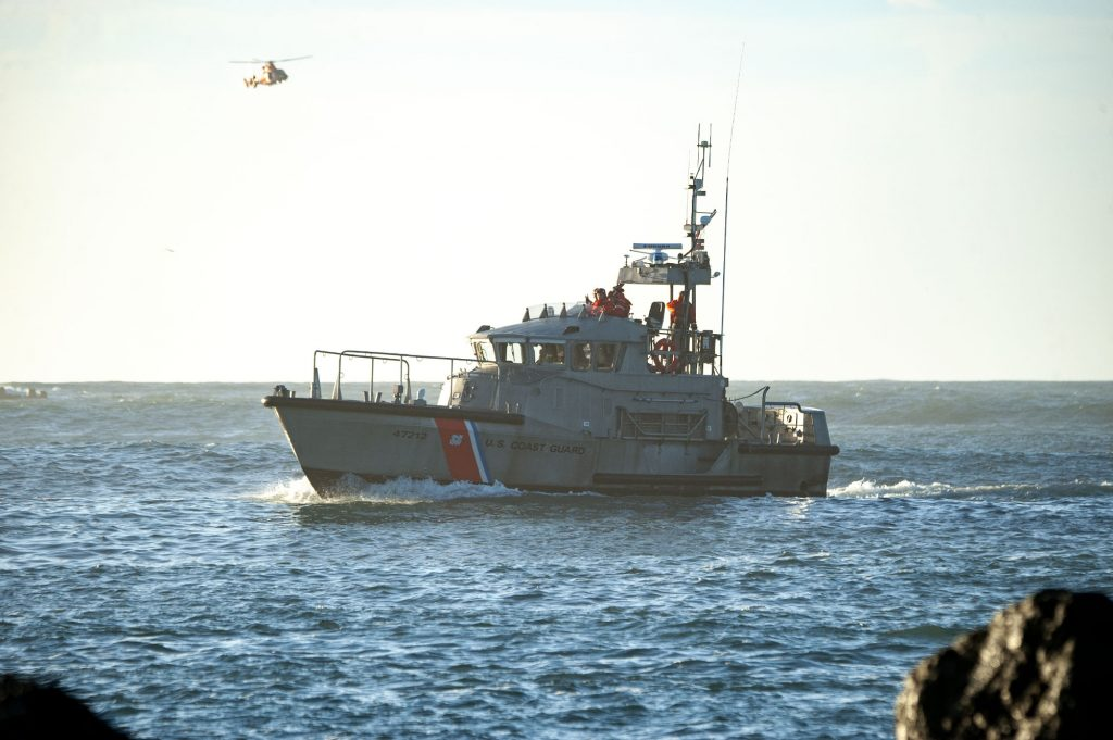 A US Coast Gaurd boat searched the waters of the entrance to Humboldt Bay after man was reported to have fallen into the water while fishing on the North Jetty.