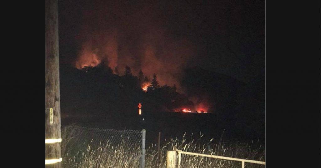 Fire burning near Hwy 101 in Piercy in late August.