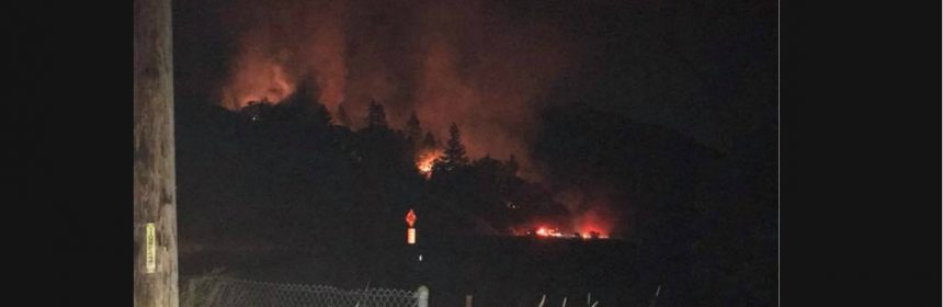 Fire burning near Hwy 101 in Piercy in late August.