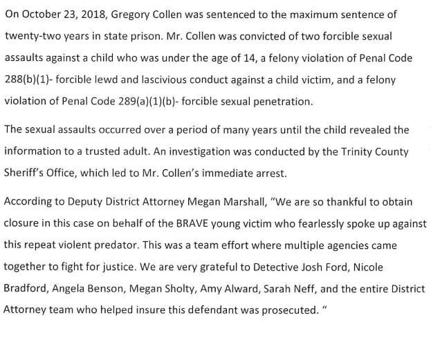 Trinity County DA's press release