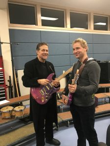 Music teacher Paul Schmollinger with former student, Johannes Köppel, a foreign exchange student from Switzerland, who wrote one of the letters.