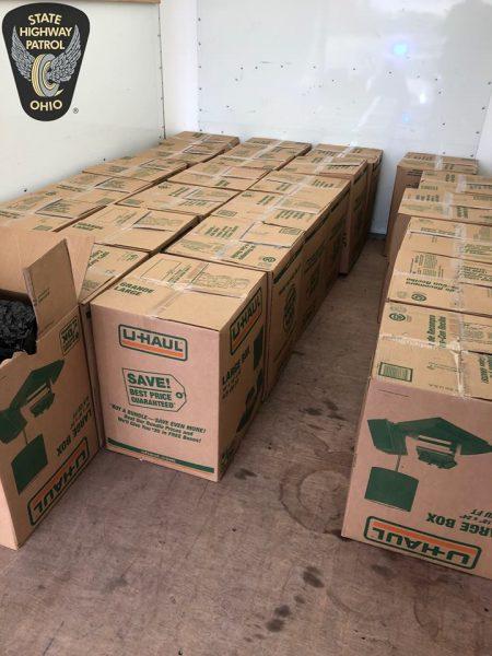 U-haul moving boxes containing packaged marijuana.
