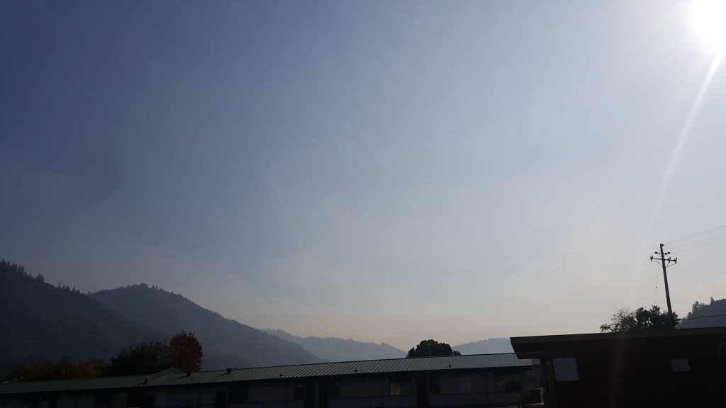 Smoke from the Signboard Fire rising over Hoopa.