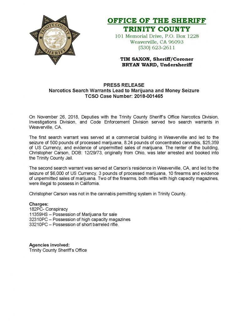 TCSO press release