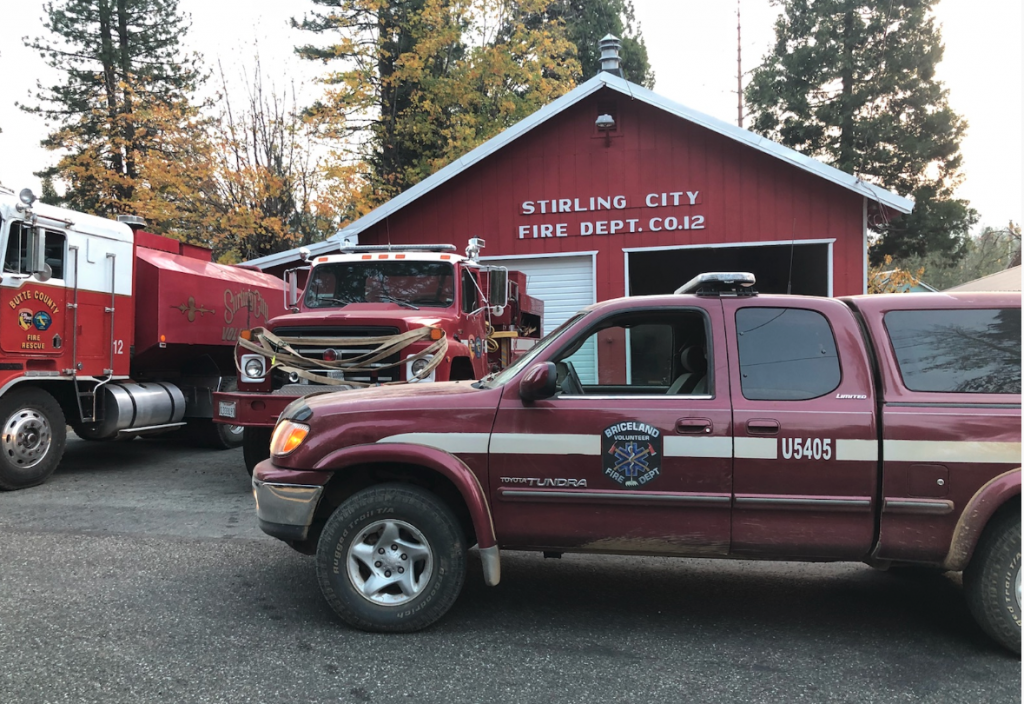 Briceland Fire truck from Humboldt County parked in front of Stirling City. [