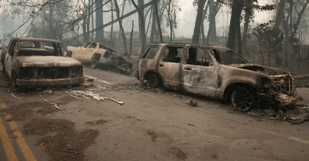 Burned vehicles Paradise Camp fire Mckenna