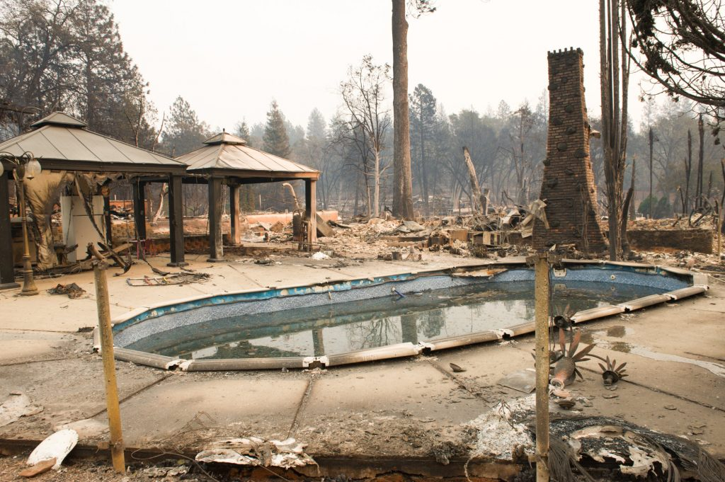 A swimming pool in sustained heavy damage and the Skyway Villa Mobile Home and RV park surrounding it was destroyed.