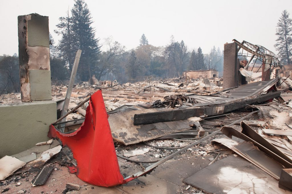Amigos De Acapulco and neighboring businesses were destroyed when the Camp Fire swept through Paradise, California.