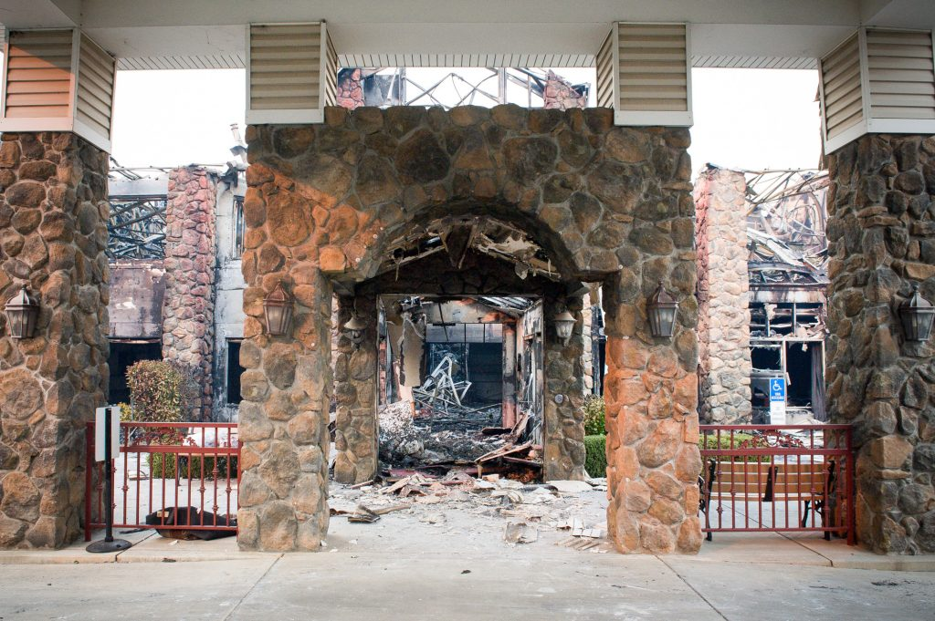 The Atria Paradise, a senior living facility sustained heavy damage when the Camp Fire burned through the town.