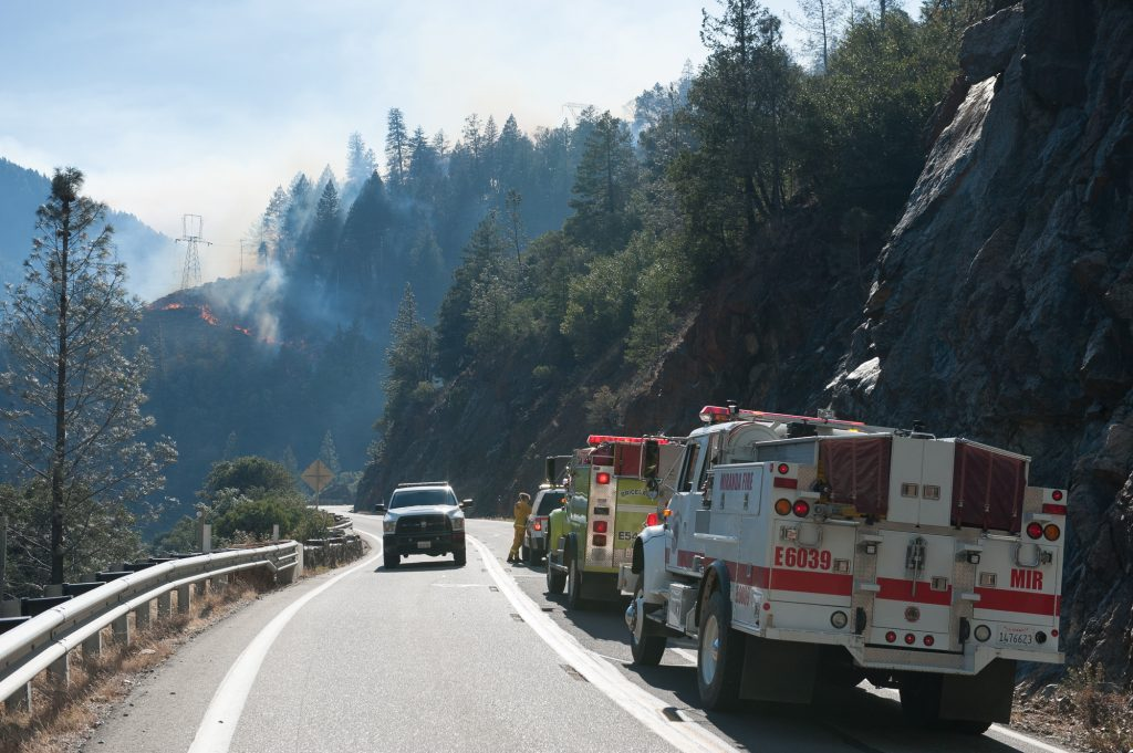 The Humboldt Strike team talks with Cal Fire on Highway 70.