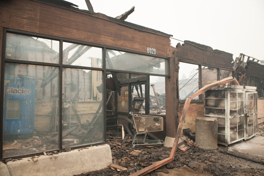 The Paradise Safeway was destroyed along with the other businesses in the shopping center.