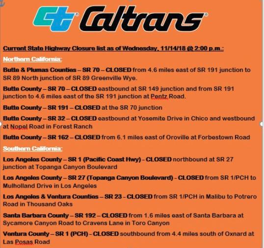 Caltrans closure  for Camp Fire