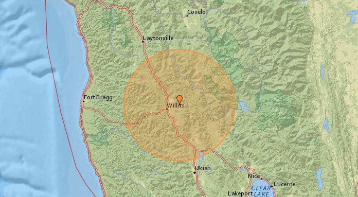 earthquake track map