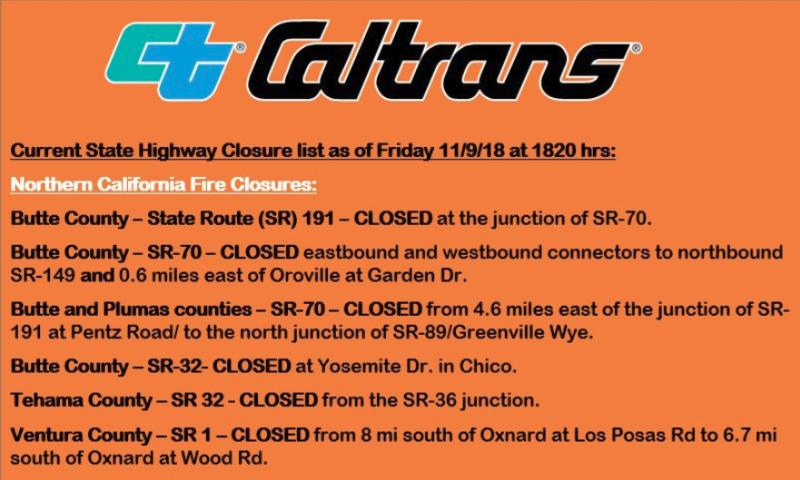 Caltrans road closure Camp FIre