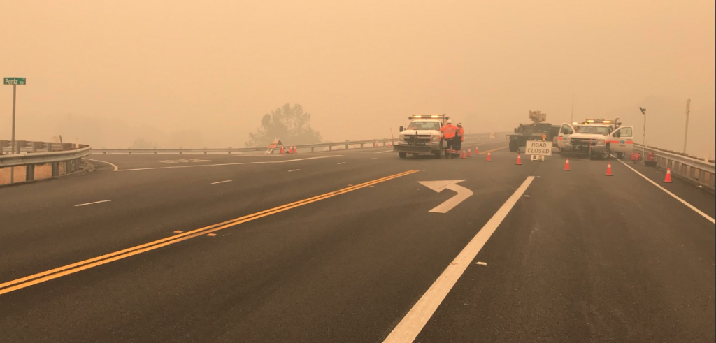 CHP, National Guards and Caltrans continue to man the closure at Hwy 70 and Pentz rd. Camp Fire