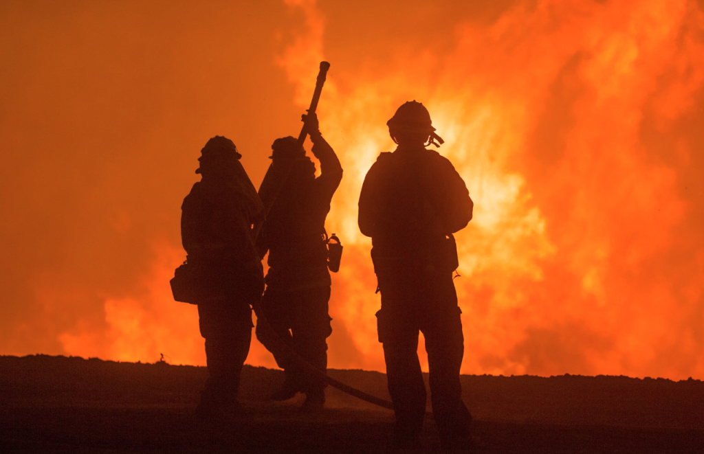 Forest Service personnel fight one of California's many fires.