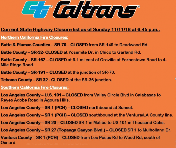 Caltrans closed roads Camp Fire
