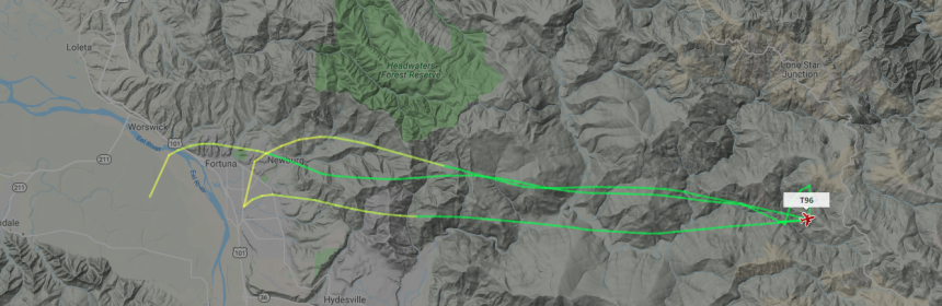Tanker 96's route over the Redwood Fire this morning