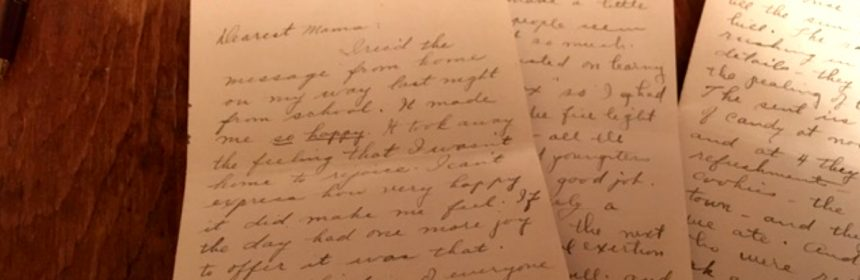 Letter from Clara Benbow to her mother. [Photo provided by Teresa Porter, Co-owner of the Benbow Inn]