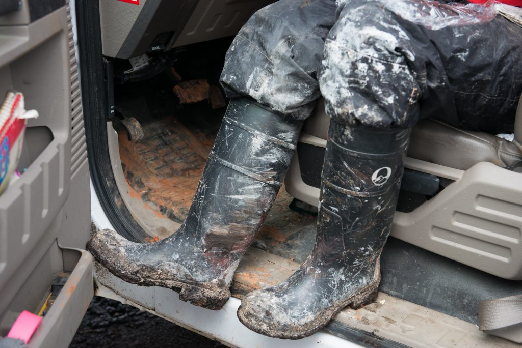Mud and ash got caked to the teams' boots.