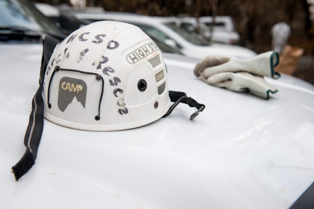 helmet and gloves of searchers