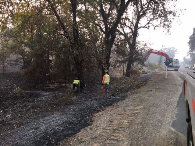 Repair work is underway on Highway 191 working south due to damage from the #CampFire.