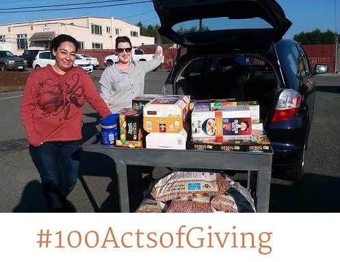 HAF Office/Safety Manager Jill Moore delivers food to Food for People's Choice Pantry Coordinator Erin Tharp.
