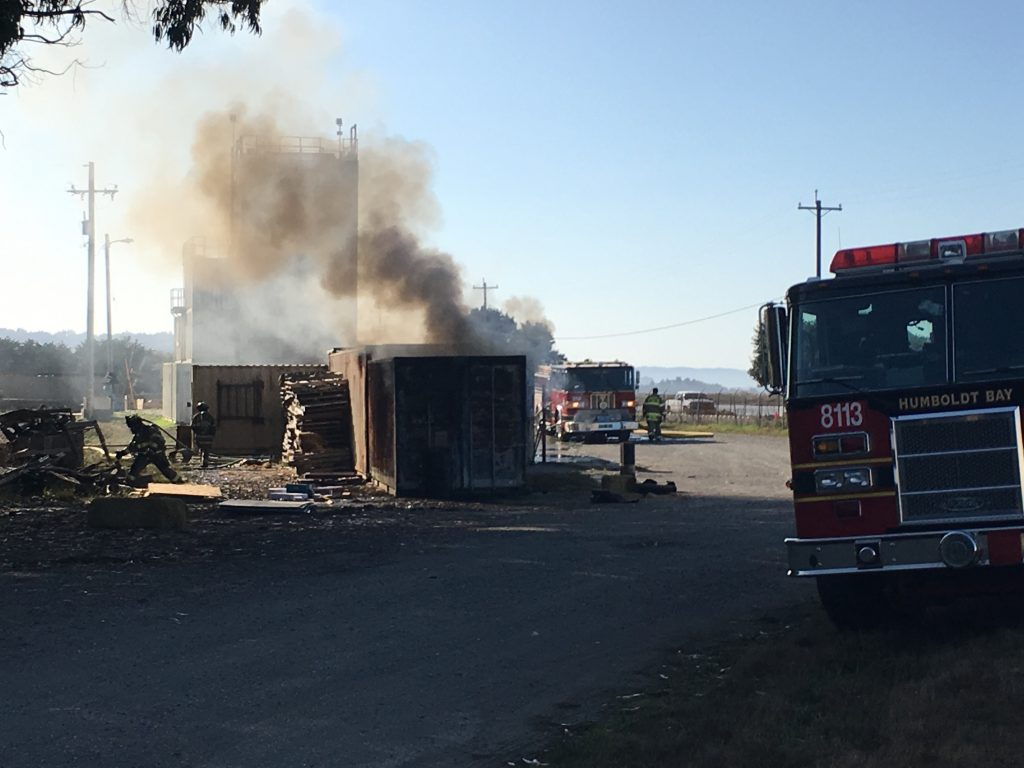 Burn box used for practicing and training in Eureka this morning.
