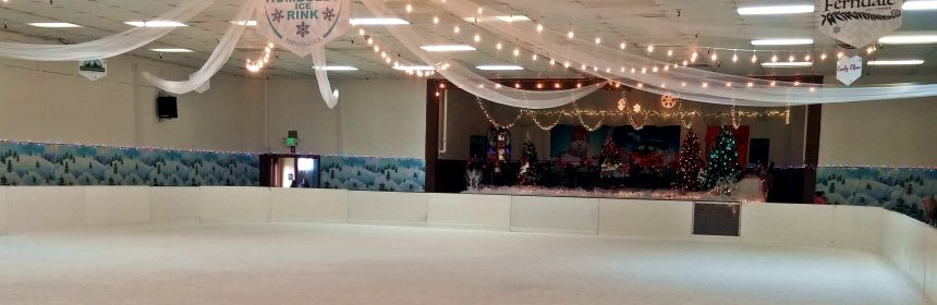 A winter wonderland awaits skaters in Belotti Hall at the Ferndale Fairgrounds.