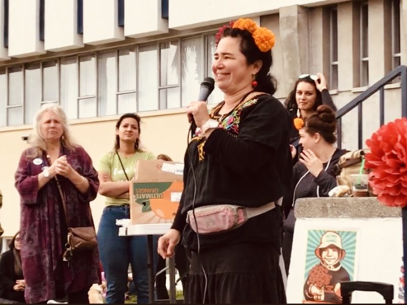 Renee Salcedo of Centro Del Pueblo became emotional as she discussed the many local indigenous groups present in support of the sanctuary measure. [Photo by Ryan Huts