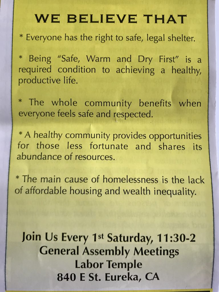 Flyer at Homeless rally