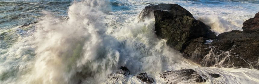 Wave crashing on Elk Head [Photo by Jeff Schwartz]