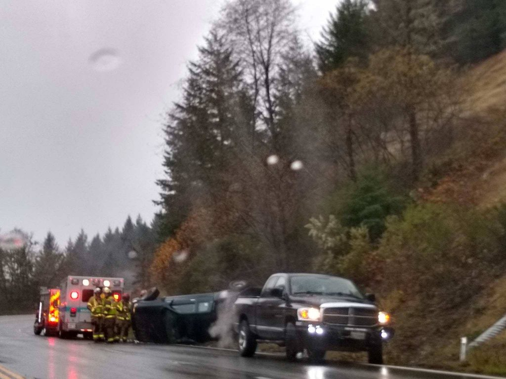 A Toyota Tacoma pickup overturned on Hwy 299 today.